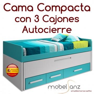 CAMA COMPACTA JUVENIL CON 3 CAJONES AUTOCIERRE