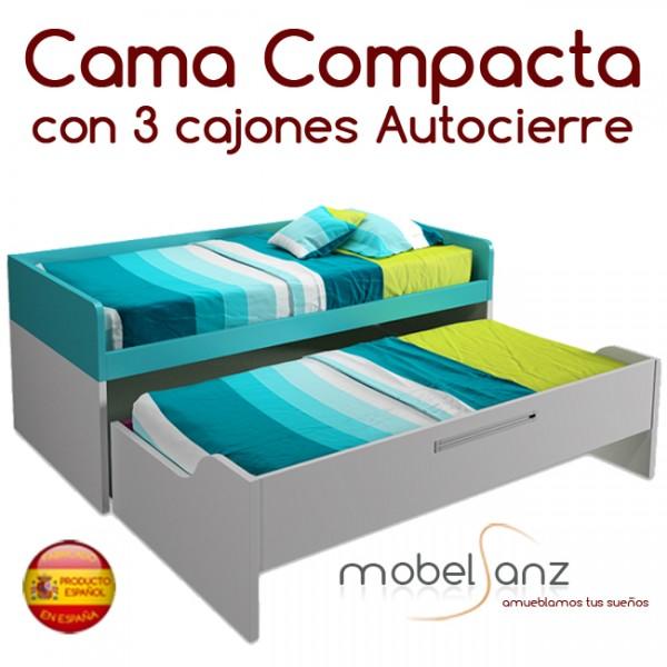 Cama compacto juvenil con 3 cajones con guias metalicas y for Cama compacta con cajones