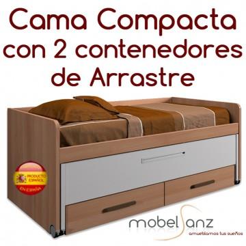 CAMA COMPACTA JUVENIL CON 2 CONTENEDORES DE ARRASTRE