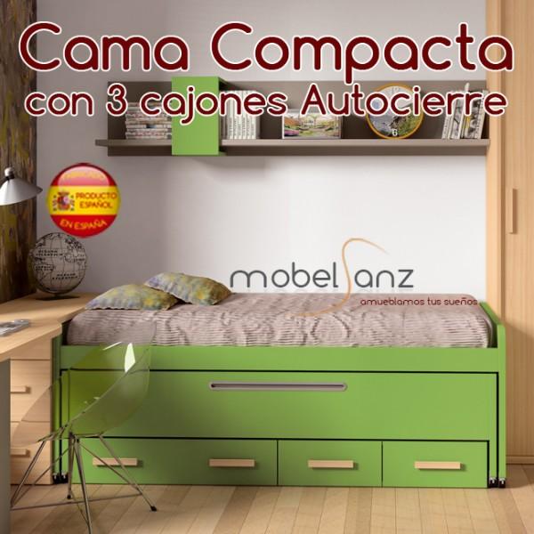 Cama compacto juvenil con 2 contenedores o cajones de arrastre for Sillon cama con cajones