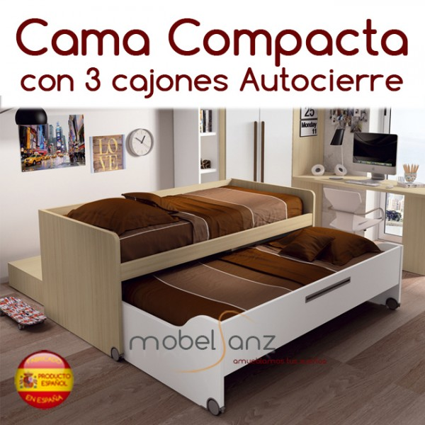 Cama compacto juvenil con 2 contenedores o cajones de arrastre for Cama compacta oferta
