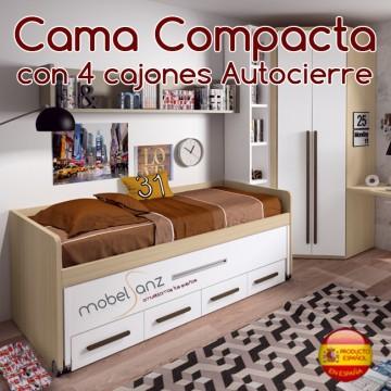 CAMA COMPACTA JUVENIL CON 4 CAJONES AUTOCIERRE