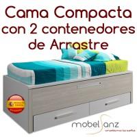 CAMA COMPACTA JUVENIL CON 2 CAJONES DE ARRASTRE