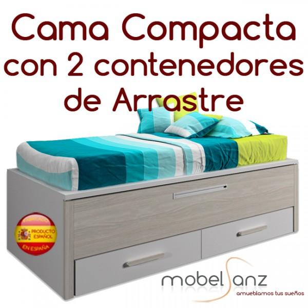 Cama compacto juvenil con 2 contenedores o cajones for Cama compacta oferta