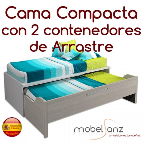 Cama nido 105 x 200 beautiful cama compacta con cajones for Cama nido de 105 con cajones