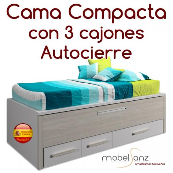 Cama compacto juvenil con 3 contenedores o cajones autocierre - Cama compacta con cajones ...