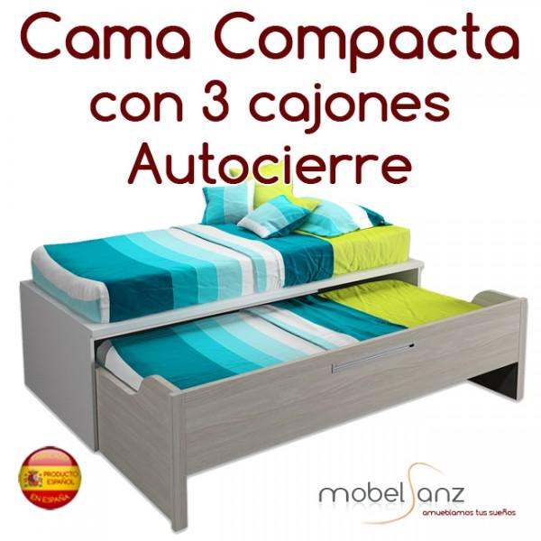 Cama compacto juvenil con 3 contenedores o cajones autocierre for Cama compacta con cajones