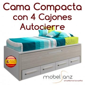 CAMA COMPACTO JUVENIL CON 4 CAJONES AUTOCIERRE