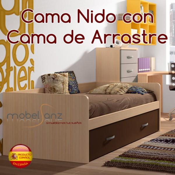 Cama nido juvenil con cama de arrastre - Somier con cama nido ...