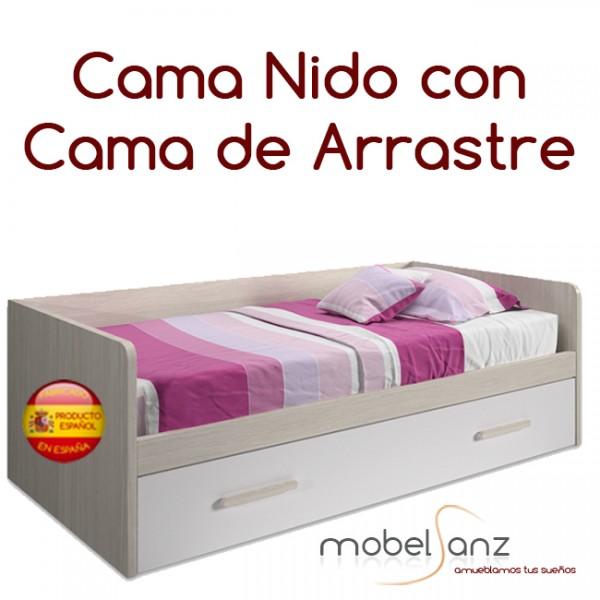 Cama nido juvenil con cama de arrastre for Cama nido color haya