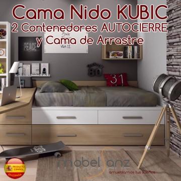 CAMA NIDO JUVENIL KUBIC CON 2 CONTENEDORES AUTOCIERRE Y CAMA DE ARRASTRE