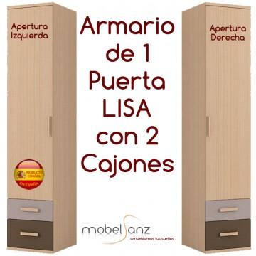 ARMARIO JUVENIL DE 1 PUERTA LISA + 2 CAJONES AUTOCIERRE