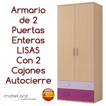 ARMARIO JUVENIL DE 2 PUERTAS LISAS ABATIBLES + 2 CAJONES AUTOCIERRE