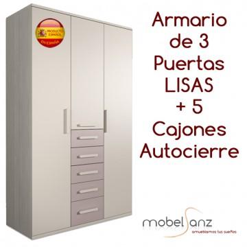 ARMARIO JUVENIL DE 3 PUERTAS ABATIBLES CON 5 CAJONES AUTOCIERRE