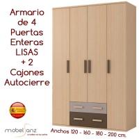 ARMARIO DE 4 PUERTAS ABATIBLES CON 2 CAJONES AUTOCIERRE
