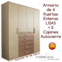 ARMARIO DE 4 PUERTAS ABATIBLES CON 5 CAJONES AUTOCIERRE