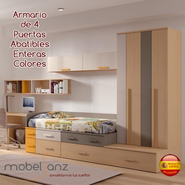 Armario juvenil de 4 puertas abatibles asimetricas colores for Armarios puertas abatibles