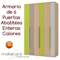 ARMARIO JUVENIL DE 6 PUERTAS ABATIBLES