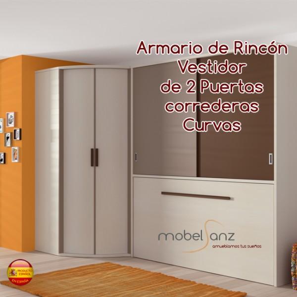 Armario juvenil vestidor de rincon con puertas correderas for Puertas correderas curvas