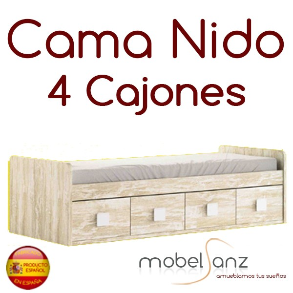 Cama nido juvenil con 4 cajones con guias metalicas for Cama con cajones 90x190