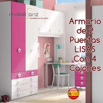 ARMARIO JUVENIL DE 2 PUERTAS LISAS ABATIBLES CON 4 CAJONES