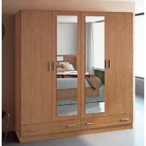 Armario de 4 puertas abatibles con 2 cajones y espejos - Puertas armario abatibles ...