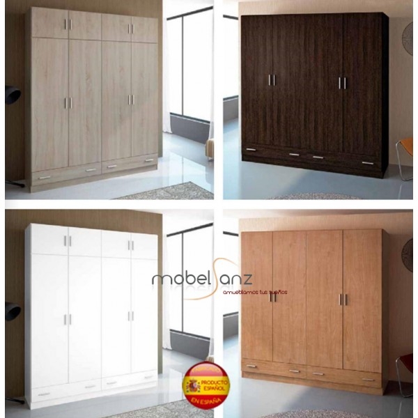 Armario de 4 puertas abatibles con 2 cajones y espejos for Armarios puertas abatibles