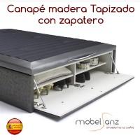 CANAPÉ DE MADERA TAPIZADO CON ZAPATERO