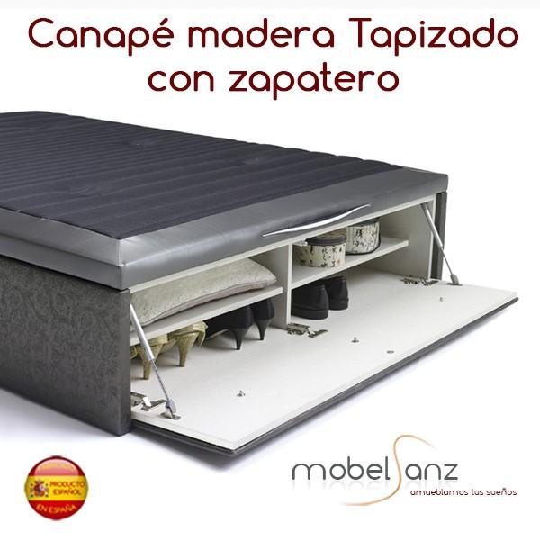 Canape de madera tapizado con zapatero for Canape con zapatero