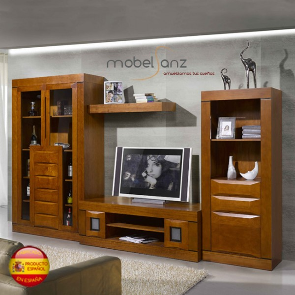 Mueble clasico moderno de salon en pino for Muebles salon clasico moderno