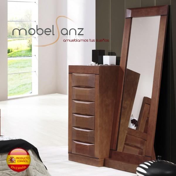 Espejo largo vestidor de pared en madera de pino for Espejos redondos de madera