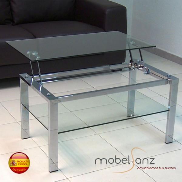 Mesa De Centro Elevable De Cristal Moderna