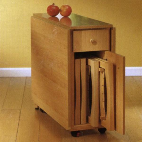 Mesa de alas robusta con cajon y ruedas for Mesas de cocina con ruedas