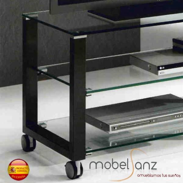 Mesa de television moderna de cristal con ruedas for Mesa cristal moderna