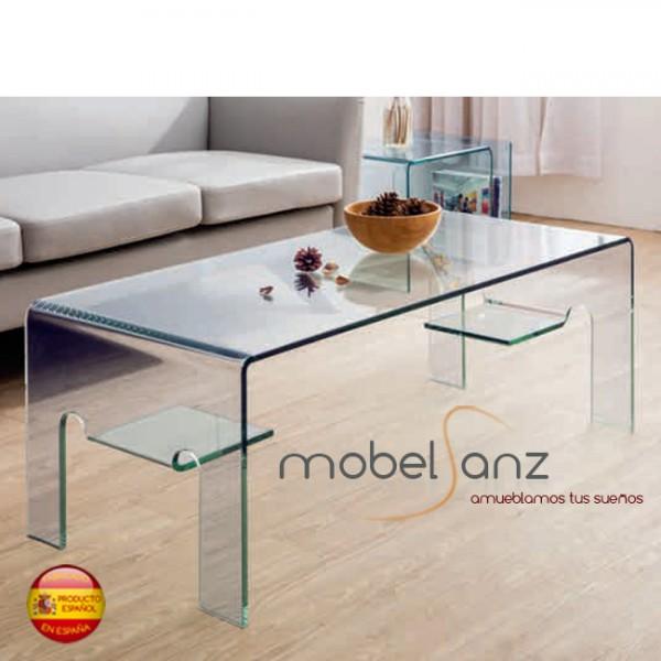 Mesa de centro de cristal curvo templado moderna for Mesa cristal moderna