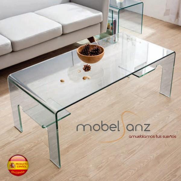 Mesa de centro de cristal curvo templado moderna - Mesas de centro de cristal modernas ...