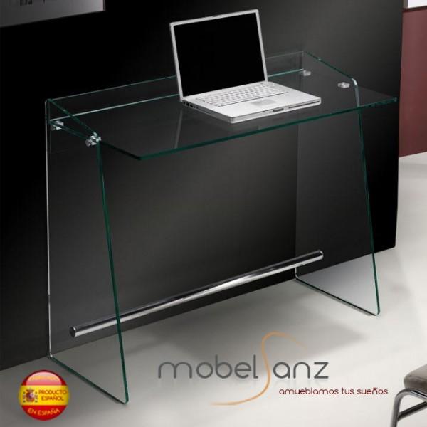 Mesa escritorio moderna de ordenador de cristal templado - Mesas estudio cristal ...