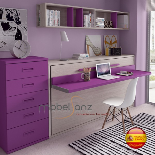 Cama juvenil abatible horizontal con escritorio for Cama juvenil con escritorio