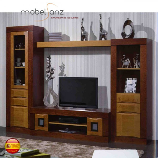 Mueble clasico moderno de salon en pino for Mueble moderno salon