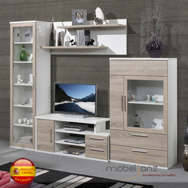 Mueble de salon apilable modular moderno for Mueble salon 220 cm