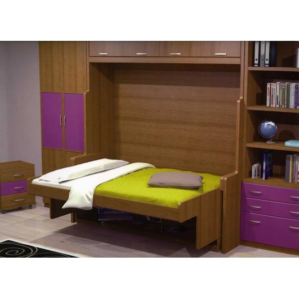 Cama abatible horizontal convertible en escritorio for Cama juvenil 105 cm