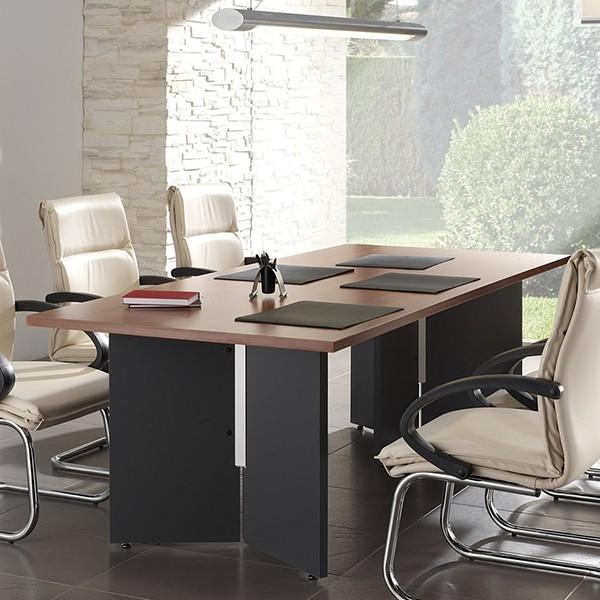 Mesa de reuniones rectangular en madera for Mesa de reuniones