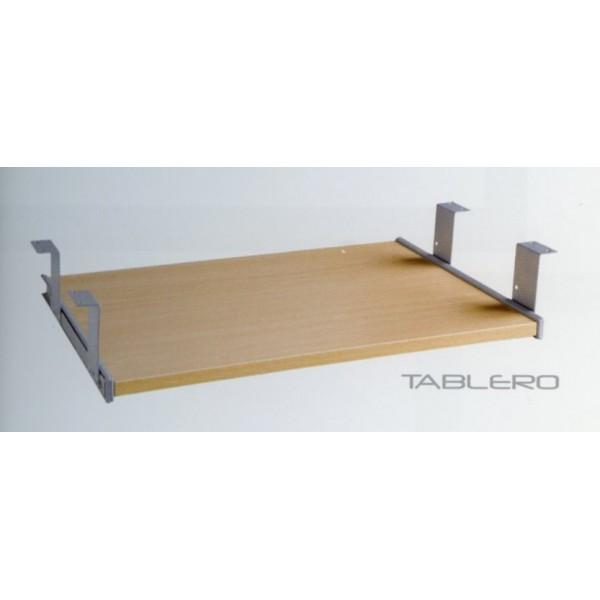bandeja teclado bajo mesa de madera