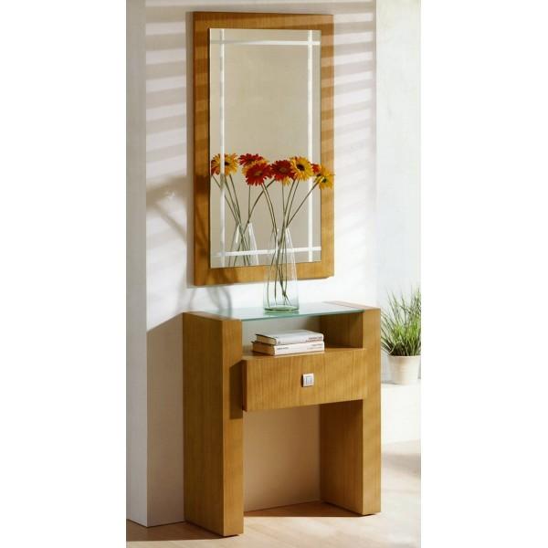 Recibidor entrada consola con espejo y cajones moderno - Espejo recibidor moderno ...