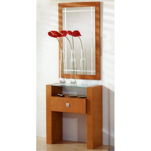 Recibidor entrada consola con espejo y cajones moderno for Espejos de diseno para recibidor