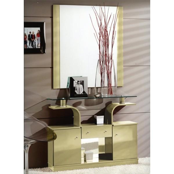 Recibidor entrada mural con espejo y puertas y cajones - Recibidores con espejos grandes ...