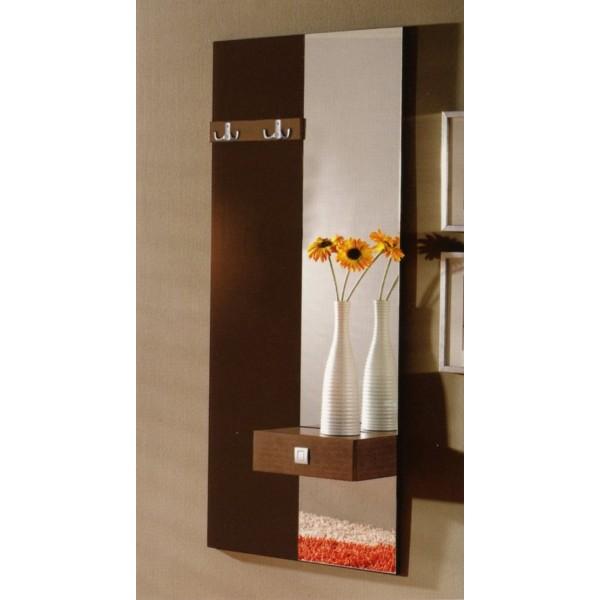 Recibidor entrada mural con espejo y puertas y cajones for Perchero para cocina