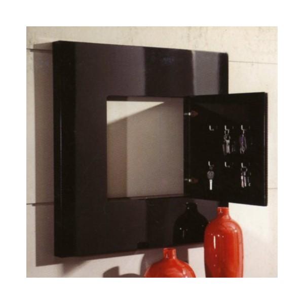 Espejo de pared moderno con llavero interior en madera de for Espejos con marcos modernos
