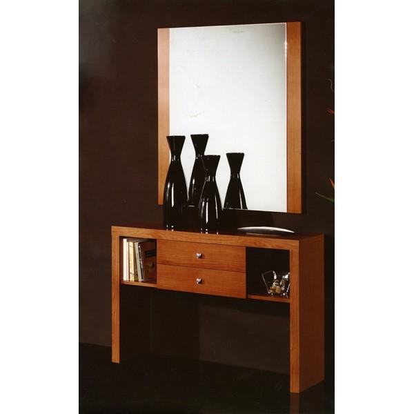 Recibidor entrada consola con espejo y cajones for Espejos de diseno para recibidor