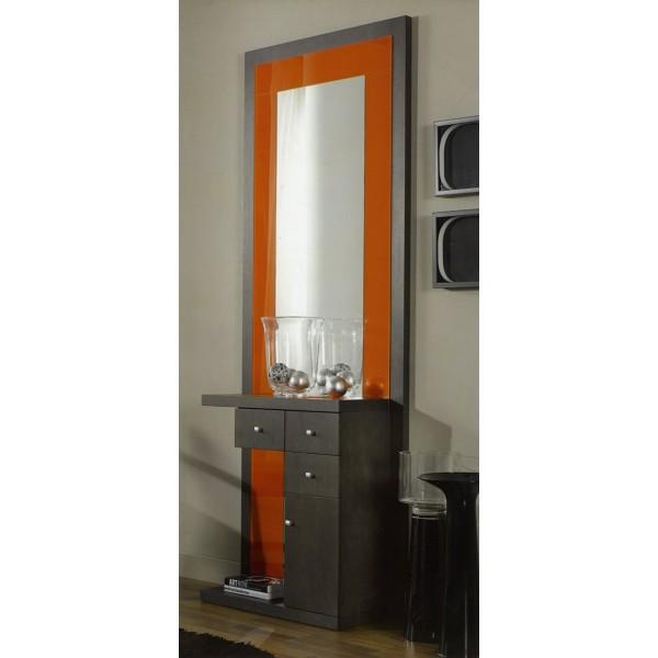 Recibidor entrada mural con espejo y puertas y cajones for Espejo cuerpo completo